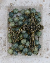 Bronze Prayer Rosary Beads - Catholic - 8mm Russian Serpentine Gemstone ... - $34.95