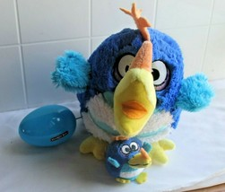 "JAY AT PLAY 8"" Blue w White  KOOKOO BIRDS Plush Squawking Parrot with egg - $19.40"