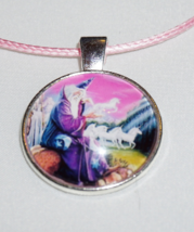 Wizard and Unicorn Charm, Pink and Purple Necklace, Wizard Jewelry - $6.99