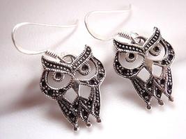 Black Eyed Owl Earrings 925 Sterling Silver Dangle Corona Sun Jewelry - $13.85