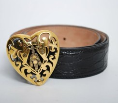 Gucci Women Belt Black Leather Heart Shape Gold Tone Buckle Fashion Wais... - $673.23