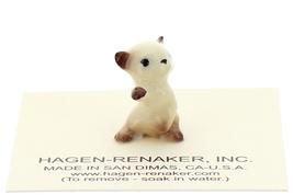 Hagen-Renaker Miniature Cat Figurine Tiny Siamese Kitten Boxing Chocolate Point image 4