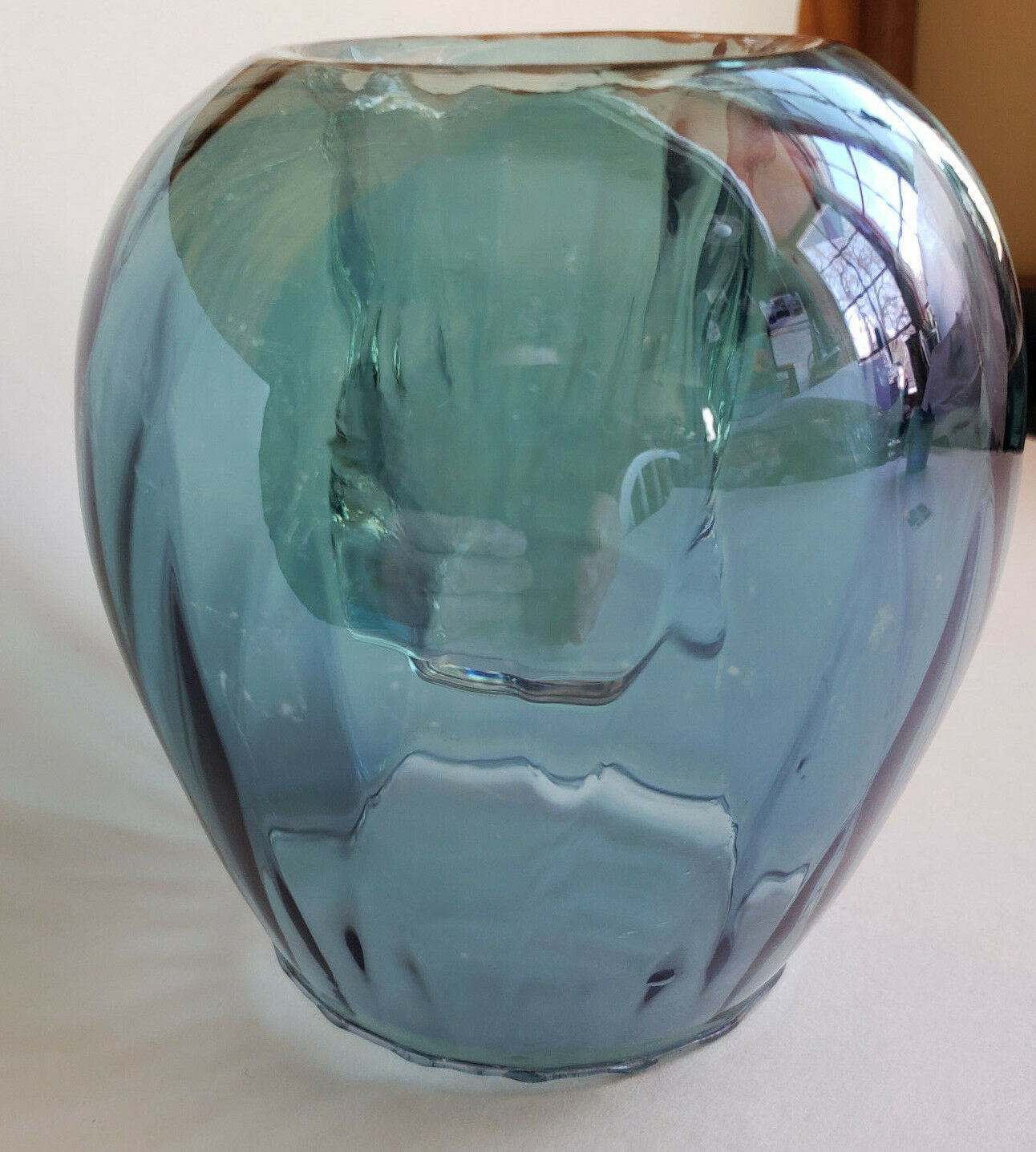 Easter Teal Odyssey Candle Holder Hand-blown Glass Tealight Votive PartyliteVtg