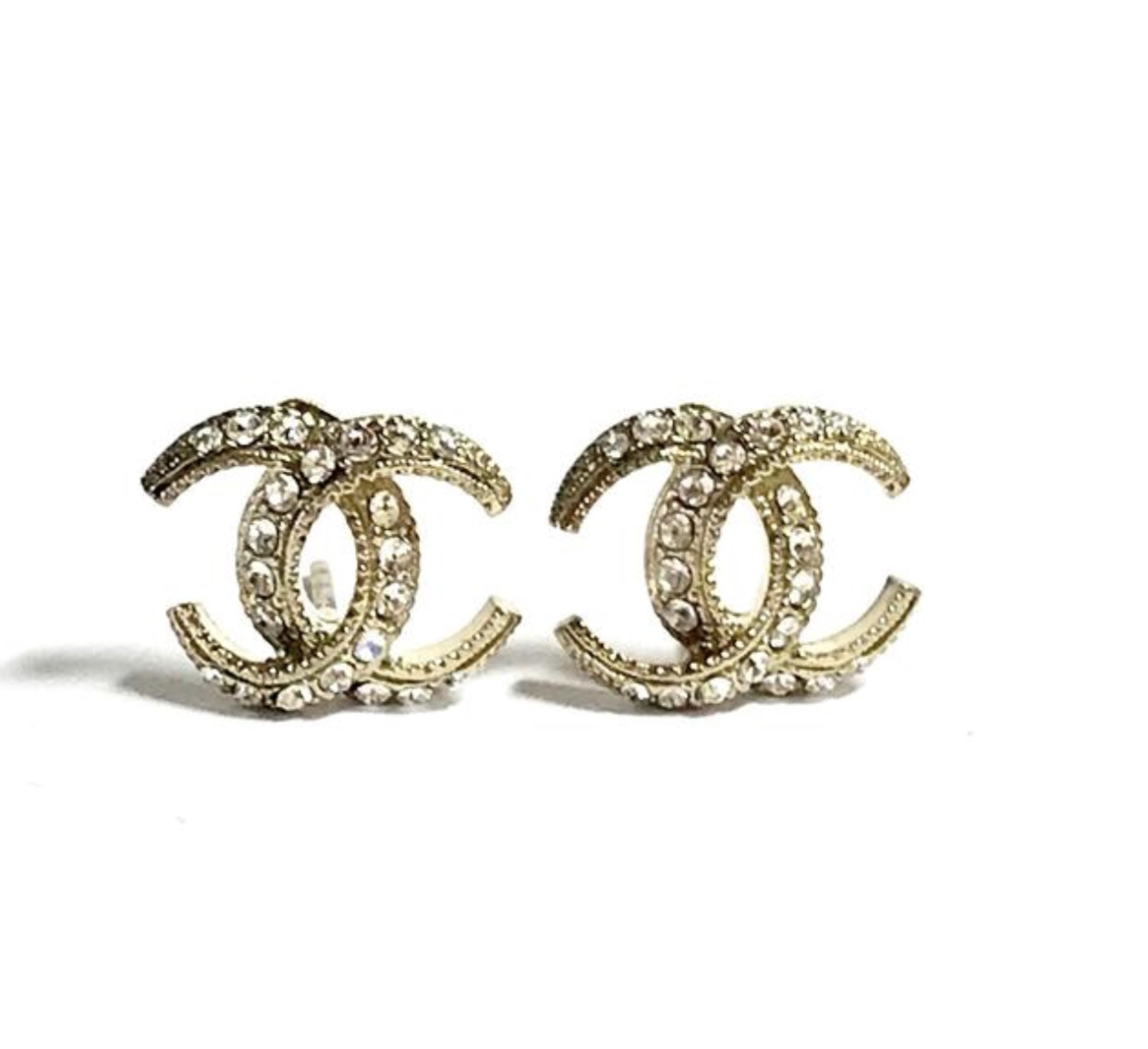 Authentic CHANEL CRESCENT MOON CRYSTAL CC Logo Stud Earrings Gold