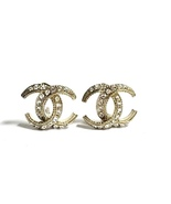 Authentic CHANEL CRESCENT MOON CRYSTAL CC Logo Stud Earrings Gold  - $319.99