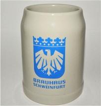 Vintage Clay Beer Stein Brauhaus Schweinfurt  Tankard Mug Cup 0.5L Stone... - $29.69