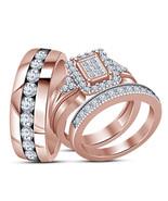 Princess Cut White CZ Trio Engagement Ring Set 14k Rose Gold Plated 925 ... - $156.99