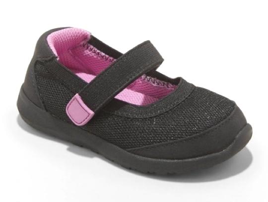 Cat & Jack Toddler Girls Black Pink Eva Hook and Loop Sneakers 4 US NEW