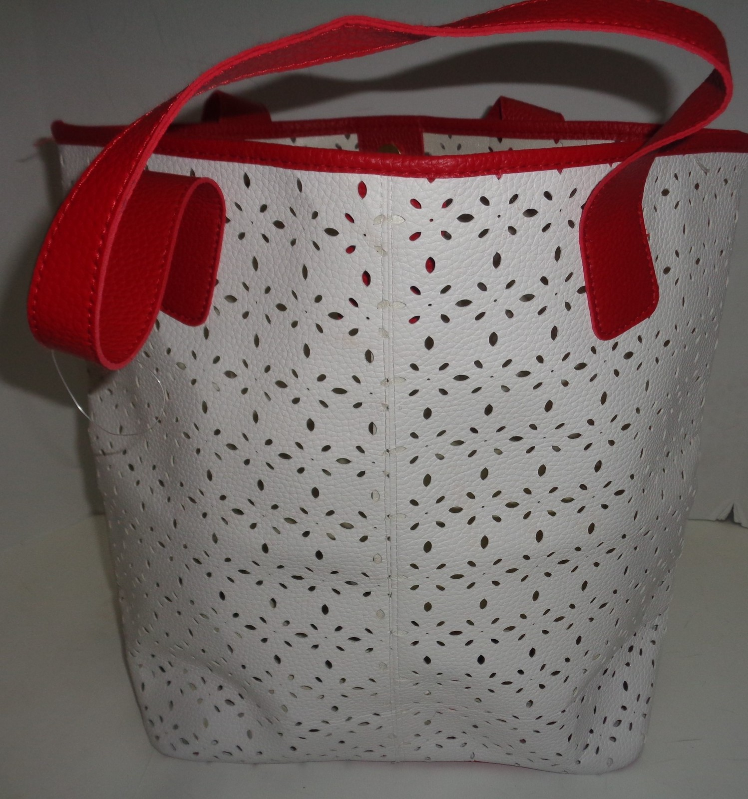 SAKS 5th Avenue Tote Purse Bag NEW Large White & Red