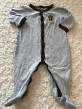 Carters Boys Gray Dark Brown Monkey Bananas Long Sleeve Pajamas 6 Months - $4.50