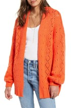 NEW Billabong M Medium Blissed Out Pointelle Cardigan Sweater Orange $76 - $28.76
