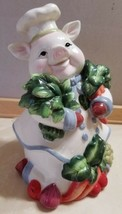 "Ceramic Pig Chef Vegetables Country Chef Corner Ruby Collection 9"" x 6"" FS - $59.99"