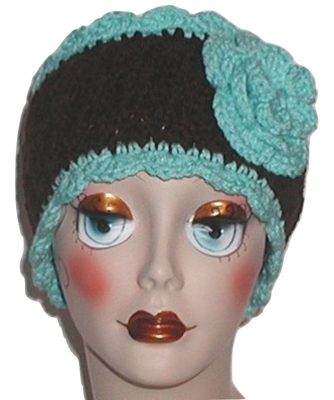 Aqua Blue And Dark Brown Ear Warmer, Dark Brown And Light Turquoise Ear Warmer