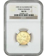 1995-W Olympic Torch $5 NGC MS70 - Modern Commemorative Gold - $921.50