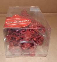"""Christmas Ornaments 3pc Red Glitter Christmas Tree 6"""" With Strings 143K - $6.49"""