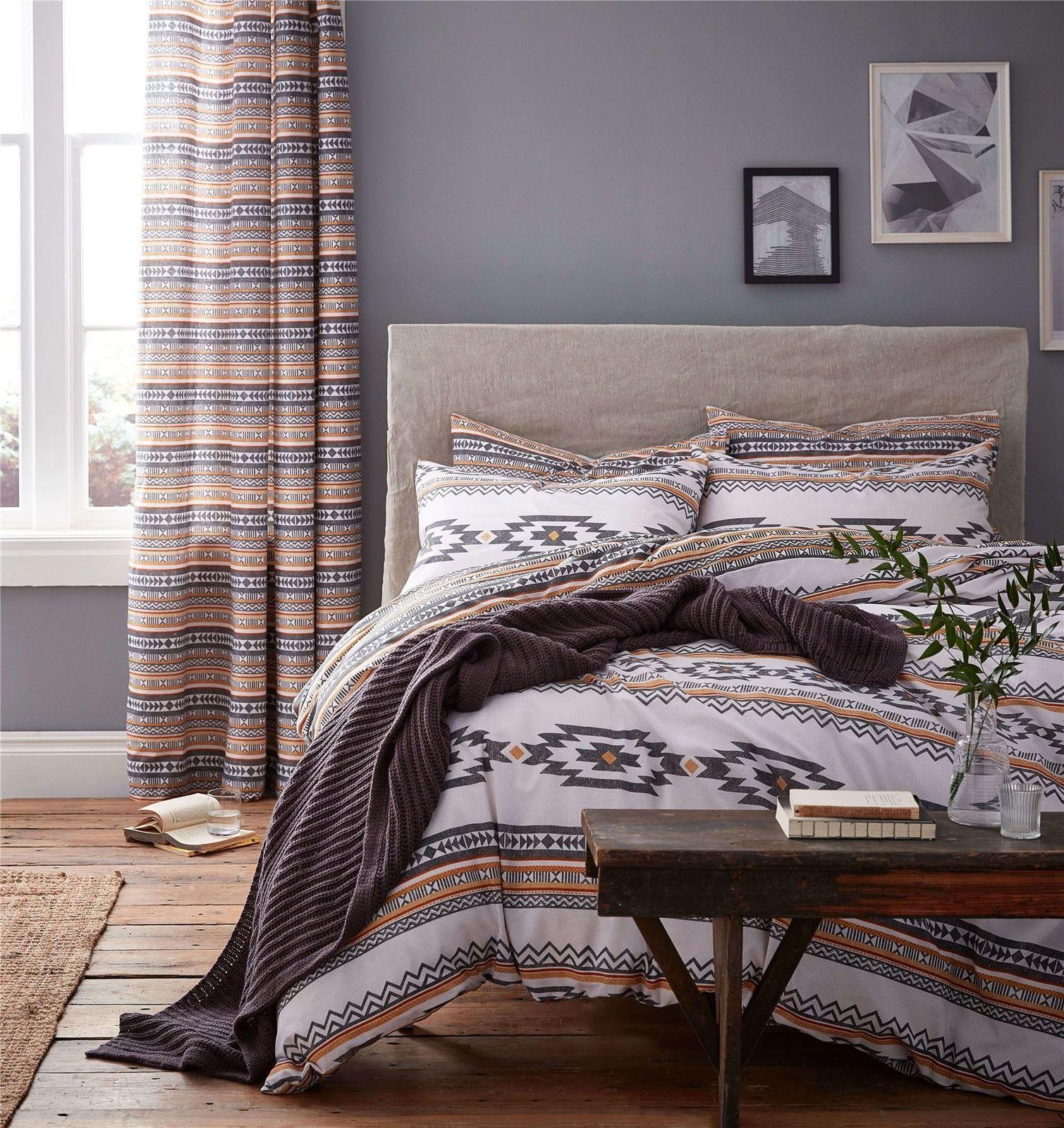 Bettwaren, -wäsche & Matratzen 100% QualitäT Nadelstreifen Kariert Blau Orange Beige Verrohrt 100% Cotton Super King Bettwäschegarnituren