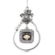 Inspired Silver Lab Lover Classic Snowman Holiday Christmas Tree Ornament With C - $14.69