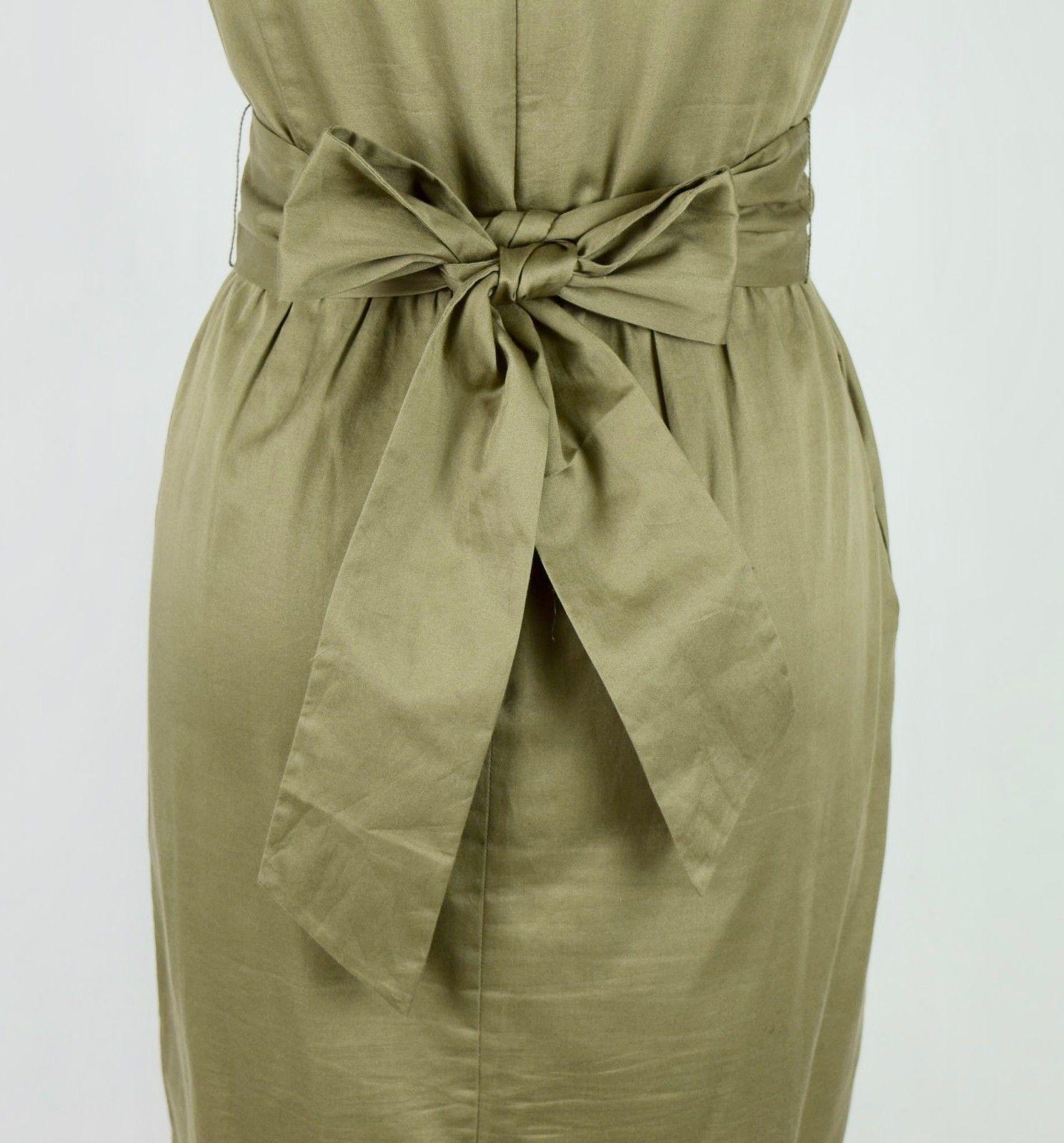 J.Crew Olive Ruffled Cotton Boat Neck Knee Length Shift Dress Sleeveless M image 10