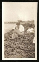 Quietly Writing Letter Rocky Beach Woman Alone Picnic Basket Solitary Photo - $14.99