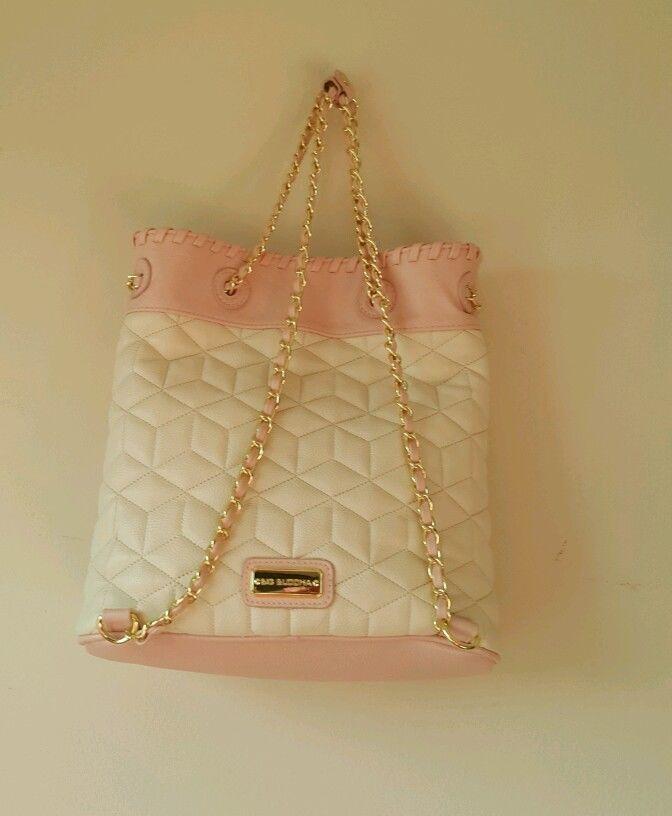 NWT Big Buddha woman's purse handbag backpack style. Gold chain cream pink blush image 3