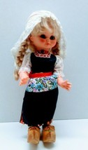 "Vintage Dutch Costumed Girl Dolls w wooden shoes-eyes open & shut-12"" - $16.62"