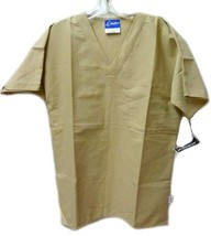 Khaki Tan Scrub Top S Crest Uniforms Unisex Chest Pocket Scrubs Disconti... - $19.57