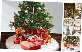 Christmas Tree Skirts, Faux Fur Large Plush White Round Base Mat Xmas 3... - $27.35