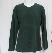 New Sz L Alfani Mens Dark Olive Green Ribbed Cotton V-Neck Slip-On Polo Sweater - $9.99