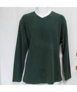 New Sz L Alfani Mens Dark Olive Green Ribbed Cotton V-Neck Slip-On Polo ... - $9.99