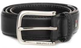 New Tommy Hilfiger Men's Premium 35MM Leather Casual Belt Black 11TL02X038