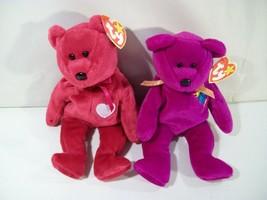 LOT 2 TY BEANIE BABIES BEAR BEAN PLUSH MILLENNIUM & VALENTINA 1999 SWING... - $12.69