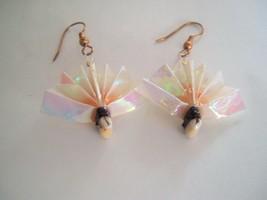 Origami Wear By Lon Pink Vintage Fans Paper dangle Earrings in original box - $7.89