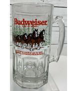 "Budweiser Clydesdales Large 8"" Handled Glass Mug Cup Christmas 1989 Vint... - $23.23"