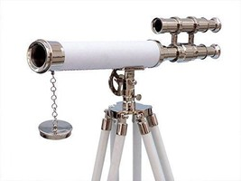 """Floor Standing Chrome with White Leather Griffith Astro Telescope 45"""" - Nautica - $179.00"""