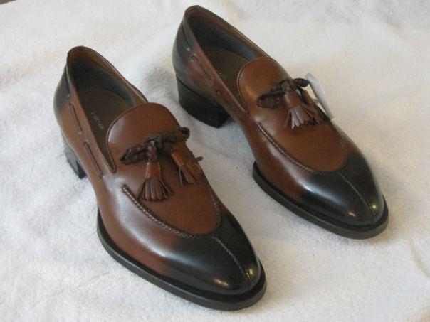 Classical Tassel Loafer Slip Ons Premium Brown Color Leather Men BurnishedToe Sh