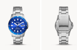 Fossil FB-01 Three-Hand Date Stainless Steel Blue Face Watch FS5669 - $99.95