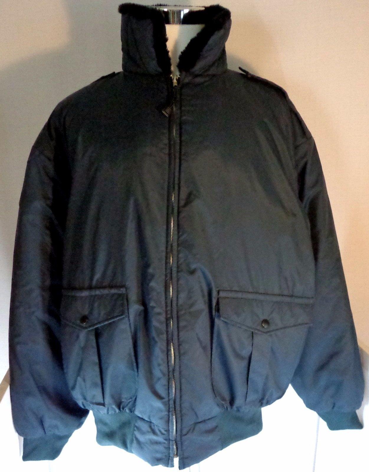Men's I. Spiewak Bomber Jacket XL Tall Navy Blue Nylon Black Faux Fur Collar