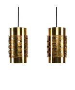 BRASS pendant pair by Holm Sorensen, 1970s. Danish Brutalist design ligh... - $698.00