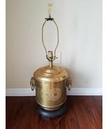 Frederick Cooper Vintage Brass Canister Lamp Handles Round Cylinder Antique - $102.76