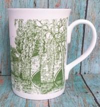 Staffordshire Pottery Mug Bakewell Coffee Cup Fine Bone China English Made Green - $39.59