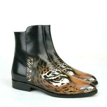Y-1453TBD New Saint Laurent Black Leather Tiger Print Ankle Boots Size 3... - $290.99