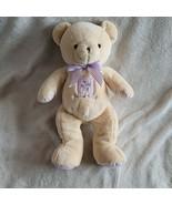 Carters Sweet Baby Teddy Bear Purple Gingham Check Plush Stuffed Ivory C... - $44.54