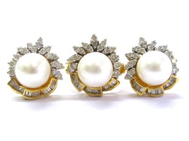 18Kt South Sea Pearls & Diamond Yellow Gold Ring & Earrings 10mm 1.36Ct - $1,732.50
