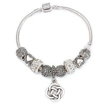 Dangle Charm Bracelet for Women With Heart Crystal Beads fit Snake Chain - $9.51+