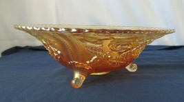 VINTAGE MARIGOLD CARNIVAL GLASS IMPERIAL OPEN ROSE  FOOTED BOWL - $75.00