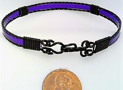 Purple Anodized Aluminum Black Copper Wire Wrap Bracelet 9