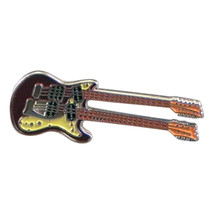 Double Headed Guitar silver plated enamel finish tie pin, Lapel Pin Badge, i