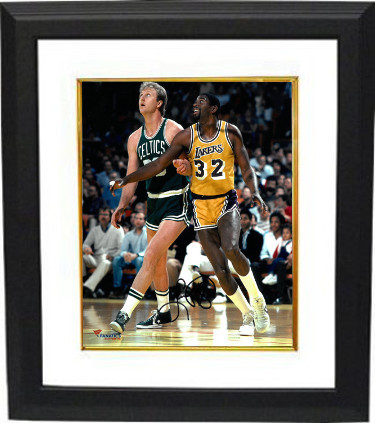 Larry Bird signed Boston Celtics 8x10 Photo Custom Framed (vs Magic Johnson)- PS