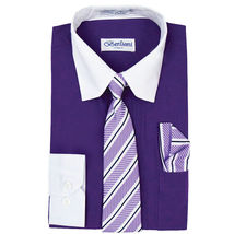Berlioni Italy Boys Two Toned Kids Toddlers Dress Shirt With Tie & Hanky Set image 6