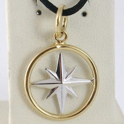 18K WHITE YELLOW GOLD 17 MM WIND ROSE COMPASS CHARM PENDANT, STAR, MADE IN ITALY